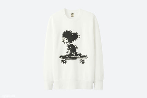 "Kaws x Peanuts Uniqlo UT ""Skateboard Graphic"" Crewneck in White"