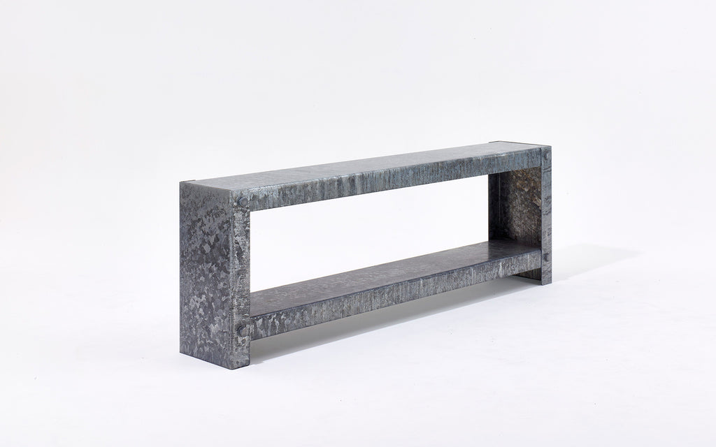 Galvanized long shelving unit