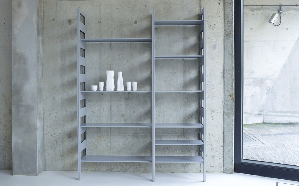 Parallel shelving system in grey