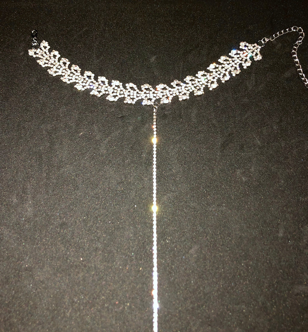 Rhinestone Choker with Rhinestone Drop