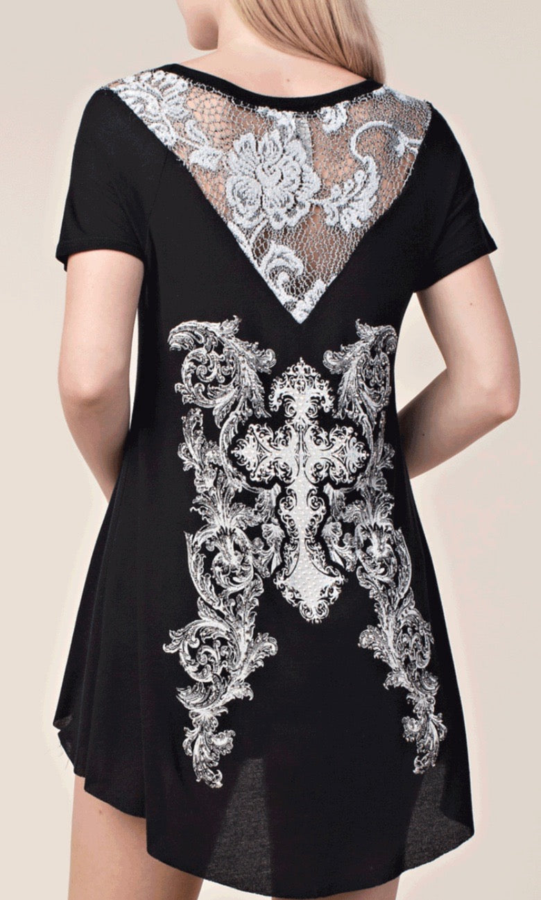 Lace Cross Tunic Top