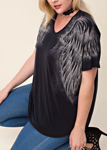 Angel Wing V-Neck Tee