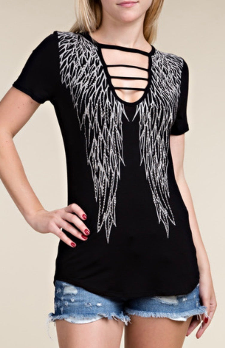 Rhinestone Wing Strappy Tee