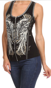 Pistol Rhinestone Zip Up Vest