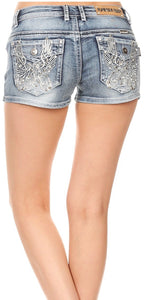 Rhinestone Motorcycle Shorts