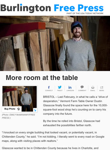 Burlington Free Press Bristol Woodshop Feature
