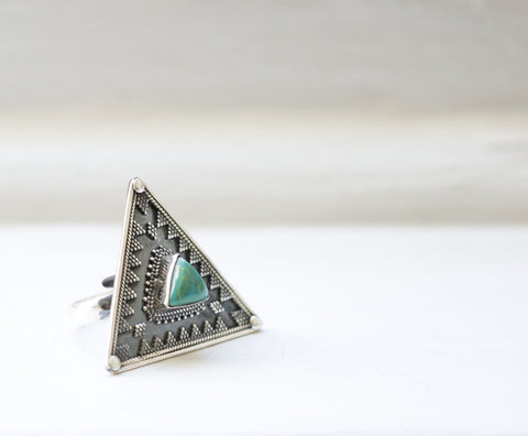Triangle Silver Turquoise Ring