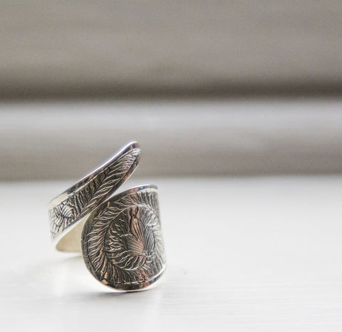 Engraved Silver Wrap Ring