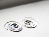 Small Silver Tribal Leaf Spiral Hoops