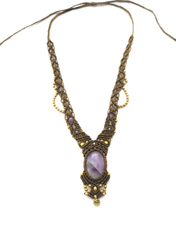 Amethyst Macrame Goddess necklace