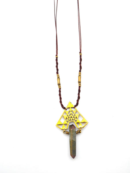 Macrame Triangle titanium Necklace