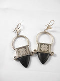 Silver old tribal Tuareg earings with ebony wood.