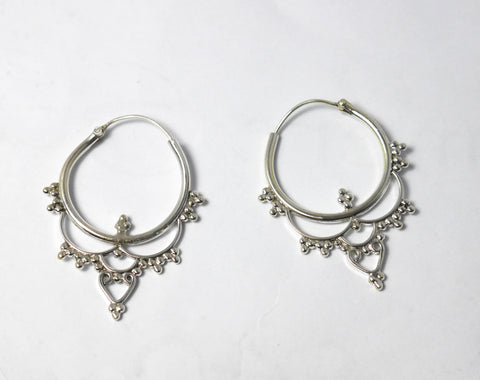 Silver detailed hoops