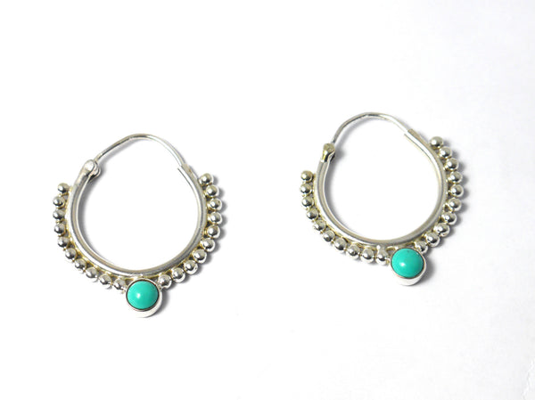Silver Hoops with Semi Precious Stone