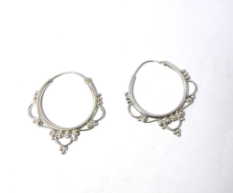 Silver Filagree Hoops