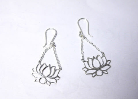 Lotus Flower Silver Drop Earrings