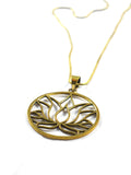 Lotus Flower Brass Pendent Necklace