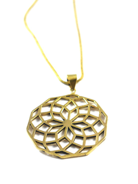 Seed of Life Brass Pendent Necklace