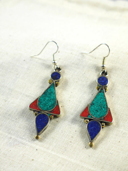 Turquoise, Lapis Lazli and Coral dangle earrings.
