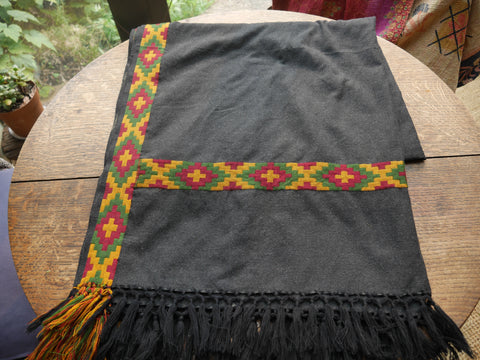 Embroidered Wool Scarf/Shawl