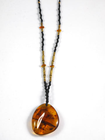 Amber Macrame Necklace with Brass Beads