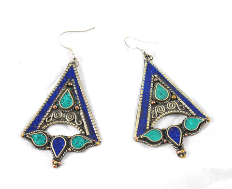 SALE:  Lapis Lazuli and Turquoise Triangle drop earrings