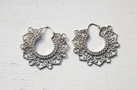 Large Silver Flower Lotus hoops