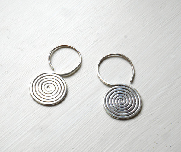 Real silver drop spiral Earings