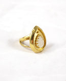 Moonstone Teardrop Brass Ring