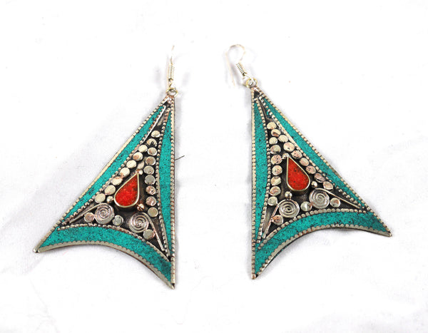 Turquoise Triangle statement earrings