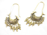 Brass drop wave wing earrings
