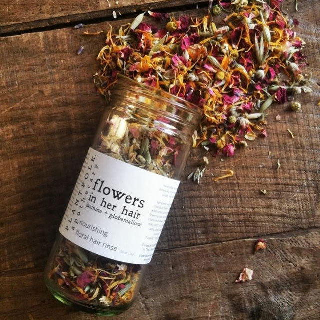 FLOWERS IN HER HAIR <br> NOURISHING FLORAL HAIR RINSE <br>[ jasmine + globemallow ]