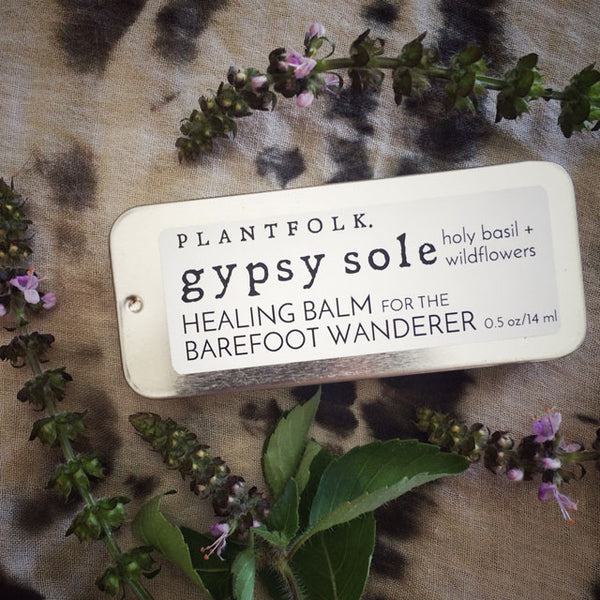 GYPSY SOLE <br> BALM FOR THE BAREFOOT WANDERER <br> [ holy basil + wildflowers ]