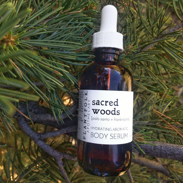 SACRED WOODS  <br>  BOTANICAL BODY SERUM <br>[ frankincense + palo santo ]