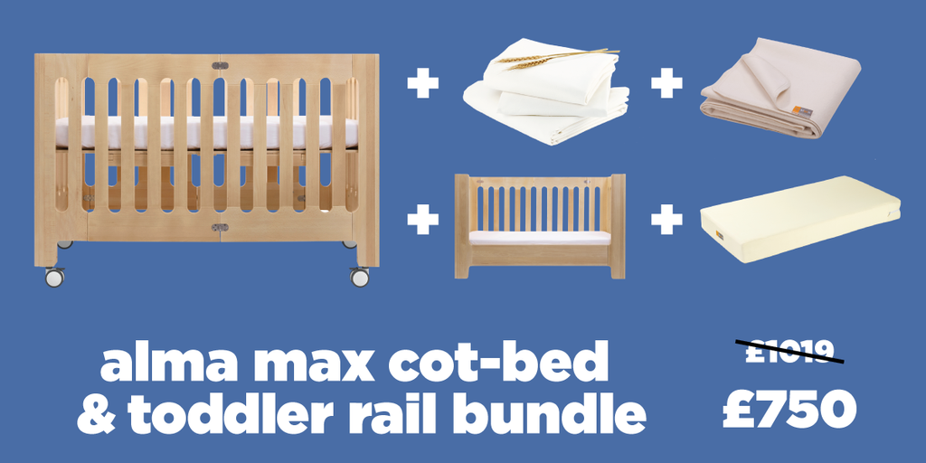 alma max crib toddler rail bundle
