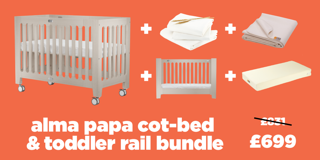 alma papa cot bed toddler rail bundle
