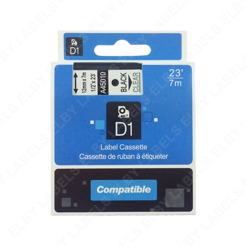 45010 D1 DYMO® Compatible Tape (Black on Clear)
