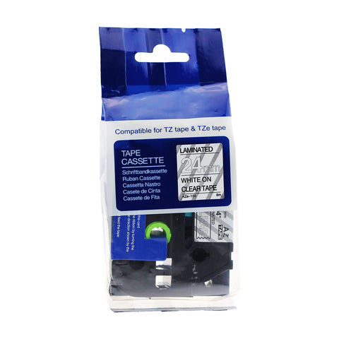 TZe155 BROTHER P-Touch Compatible Tape (White on Clear)