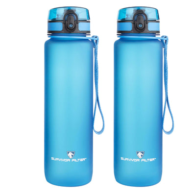 Sports Water Bottles (32oz) - 2 Bottle Set (2 Liters Total)