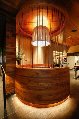 Reclaimed teak for private booth at Matsuhisa Denver