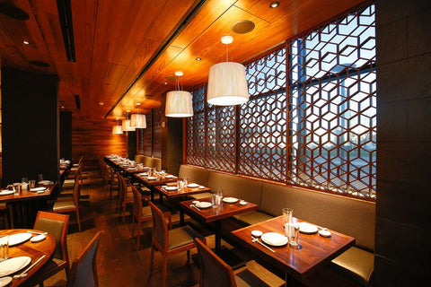 Reclaimed teak flooring from Beyond Tile was used for the ceiling at Matsuhisa, Denver Colorado