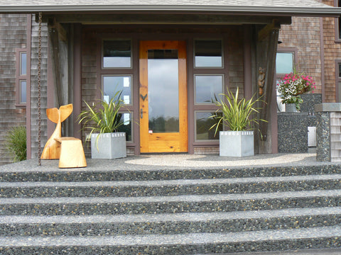 Outdoor steps in River rock pebble tile from Beyond Tile