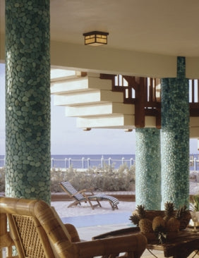 Outdoor patio columns in Indonesian green pebble tile