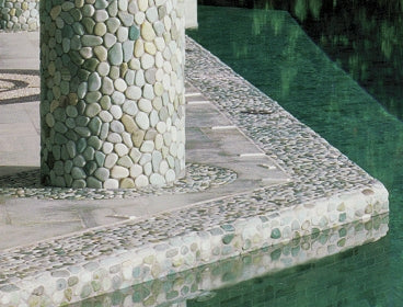 Indonesian Green Pebble Tile pool patio columns