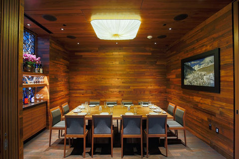 teak flooring on walls and reclaimed teak table from Beyond Tile for Matsuhisa, Denver