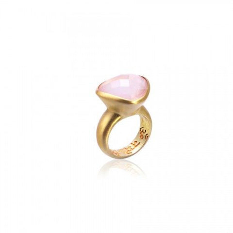 Om Namah Shivaya Ring • Rose Quartz • Gold Vermeil - Beyond Tile