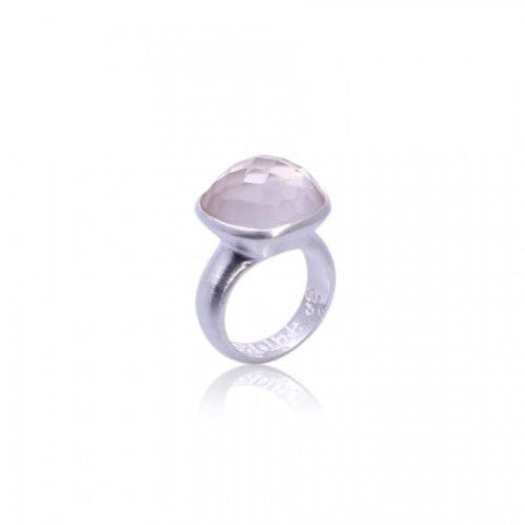 Om Namah Shivaya Ring • Rose Quartz • Silver - Beyond Tile