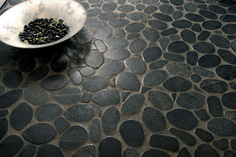 Bright Black Sliced Pebble Tile - Beyond Tile  - 2