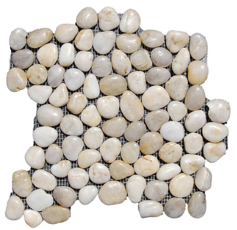 Cloudy White Pebble Tile - Beyond Tile  - 1