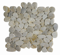 Cloudy White Sliced Pebble Tile - Beyond Tile